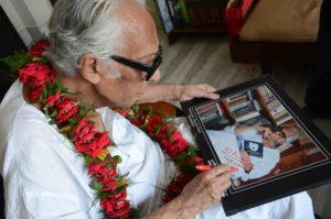 Film Meker Mrinal Sen look her Photographs at her Kolkata Resident on the occsion for Filmmaker Mrininal Sen celebrates his 89th Birthday on May 14,2012 in Kolkata,Photo By Debajyoti Chakraborty,Kolkata.