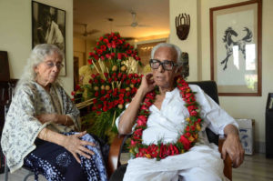 Film Meker Mrinal Sen with her wief at her Kolkata Resident on the occsion for Filmmaker Mrininal Sen celebrates his 89th Birthday on May 14,2012 in Kolkata,Photo By Debajyoti Chakraborty,Kolkata.